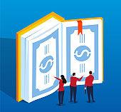 Isometric book of money