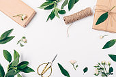 Festive flat lay frame composition of gift wrapping