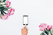 Woman reach for screen of smart phone