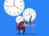 Businessman fell asleep next to the clock