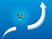 Businessman jumps over broken arrow