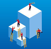 Businessman on different cubes