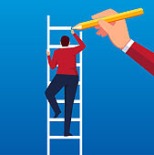 Draw ladders to help businessmen climb higher stairs