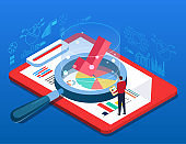 Businessman evaluates and analyzes data