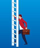 Businessman preparing to climb a ladder