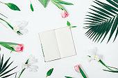 Flower arrangement and an open book
