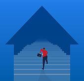 Businessman runs down the stairs towards the arrow