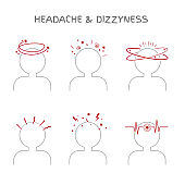 Set of headache and dizziness signs for medical and healthcare illustrations