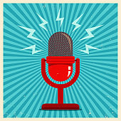Microphone on blue retro background