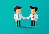 cartoon businessman shake hands