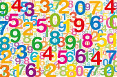 Colored numbers on white background