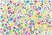 Twisted colored numbers on white background