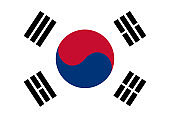 Colored flag of South Korea