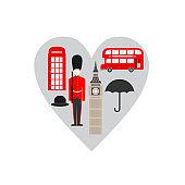 United Kingdom, London travel icon landmark. England Great Britain travel sightseeing in heart shape