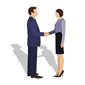 Businessman shaking hands with businesswoman.