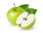 A one whole ripe green apple with leaf and slice isolated on white background