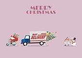 Santa claus ride a motorbike following by truck and Snowman push a shopping cart