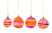 Christmas red and pink decorations watercolor