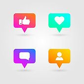Like, thumbs up and love icons set. Social media elements. Bright gradients collection. Social network icons. Counter notification symbol. Emoji reactions. Vector illustration