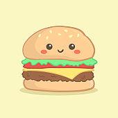 Cute Hamburger Burger Vector Cartoon