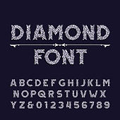 Diamond crystal alphabet font. Ornate jewelry letters and numbers.