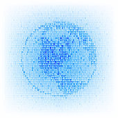Global networking concept. Binary code globe icon.