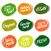 Labels with fresh and natural food designs.