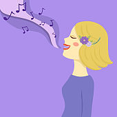 Blonde Woman Sing a Song