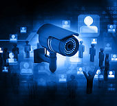 3d render of Surveillance camera with people