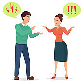 Cartoon Man and woman quarreling. Angry couple quarrel vector flat illustration.