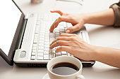 human hands using laptop