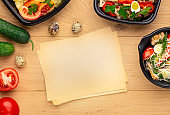 Healthy lunch recipe, top view, mockup