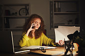 Business talk, woman consulting by phone at office