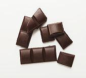 Bar of dark chocolate isolated on white