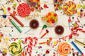 Party background, holiday celebration accessories, top view