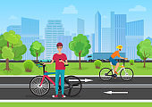 Vector illustration of cyclists in the park. Man cyclist using his phone. Cyclists walking in the city park.