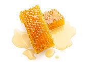 Fresh honeycomb slices isolated on white background