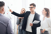 Business team presenting new project plan to boss