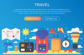 Vector trendy flat gradient color Travel trip adventure and vacation concept template banner with icons and text.