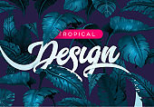 Bright tropical background with jungle plants. Exotic pattern with tropical leaves