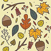 Autumn Seamless pattern with floral design elements