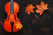 Old violin with yellow autumn maple leave. Top view, close-up on dark vintage background