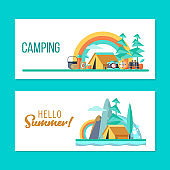 Camping. Summer outdoor recreation. Vector illustration.