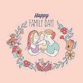Family day. Happy family.  Vector illustration.