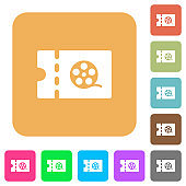 Movie discount coupon rounded square flat icons
