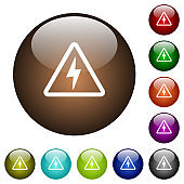 Danger electrical hazard color glass buttons