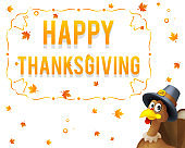 Giving thanks for blessing of harvest holiday celebration turkey in pilgrim hat happy thanksgiving day 3d cartoon design vector illustration