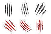 Animal Monster Claws Blood Bleeding Scratches Torn Material Template Set Transparent Background Mock Up Design Vector Illustration [преобразованный]