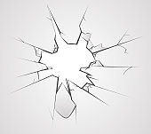 Broken glass hole cracks transperent background vector illustration