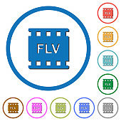 FLV movie format icons with shadows and outlines